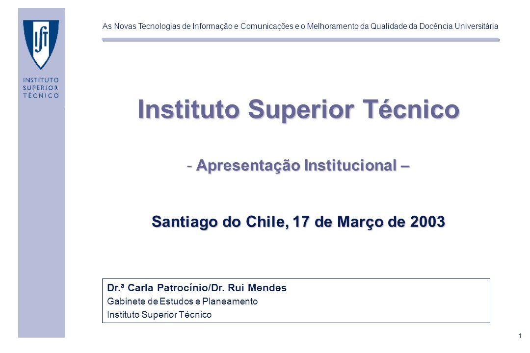 1 As Novas Tecnologias de Informação e Comunicações e o Melhoramento da Qualidade da Docência Universitária Dr.ª Carla Patrocínio/Dr.