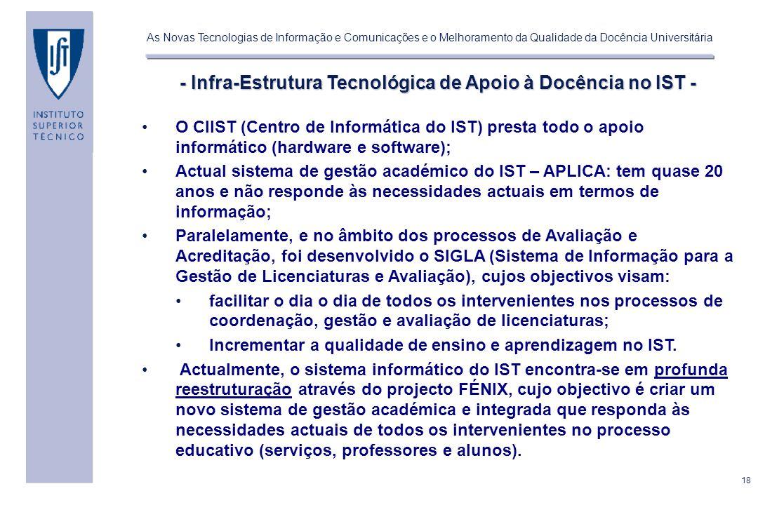 18 As Novas Tecnologias de Informação e Comunicações e o Melhoramento da Qualidade da Docência Universitária - Infra-Estrutura Tecnológica de Apoio à Docência no IST - O CIIST (Centro de Informática do IST) presta todo o apoio informático (hardware e software); Actual sistema de gestão académico do IST – APLICA: tem quase 20 anos e não responde às necessidades actuais em termos de informação; Paralelamente, e no âmbito dos processos de Avaliação e Acreditação, foi desenvolvido o SIGLA (Sistema de Informação para a Gestão de Licenciaturas e Avaliação), cujos objectivos visam: facilitar o dia o dia de todos os intervenientes nos processos de coordenação, gestão e avaliação de licenciaturas; Incrementar a qualidade de ensino e aprendizagem no IST.