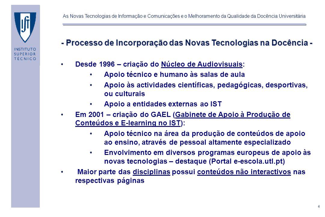 5 As Novas Tecnologias de Informação e Comunicações e o Melhoramento da Qualidade da Docência Universitária - Quais as Metodologias de Ensino mais utilizadas.