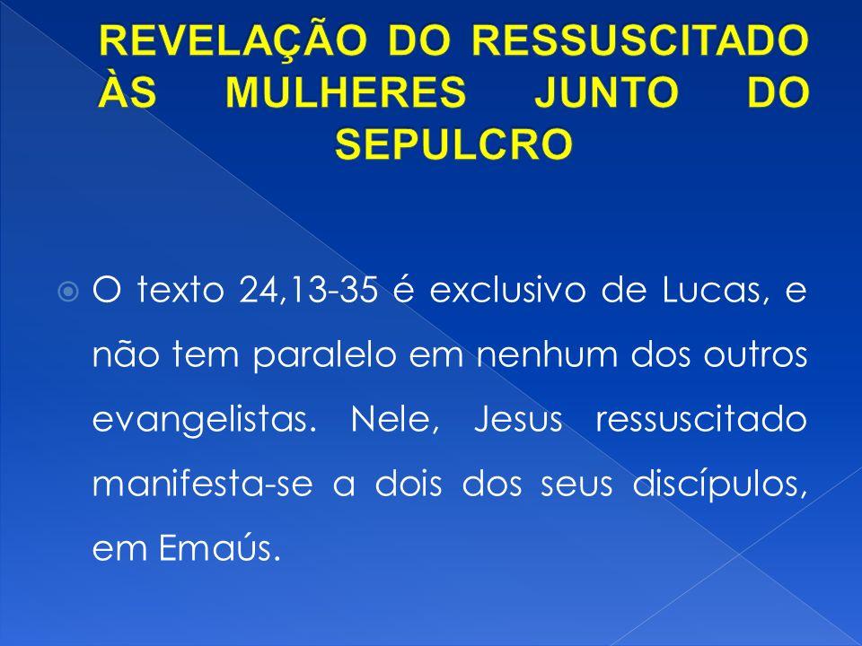 O texto 24,13-35 é exclusivo de Lucas, e não tem paralelo em nenhum dos outros evangelistas.