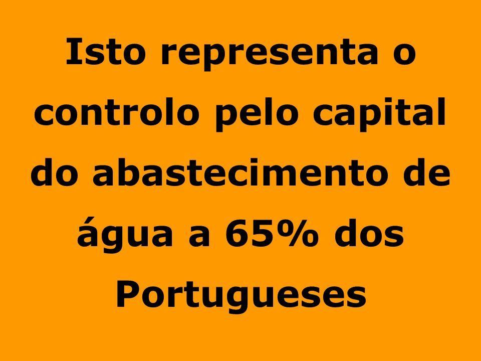 Isto representa o controlo pelo capital do abastecimento de água a 65% dos Portugueses
