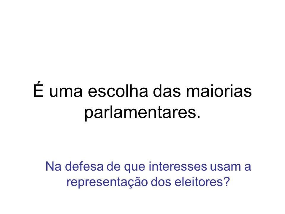 Na defesa de que interesses usam a representação dos eleitores? É uma escolha das maiorias parlamentares.