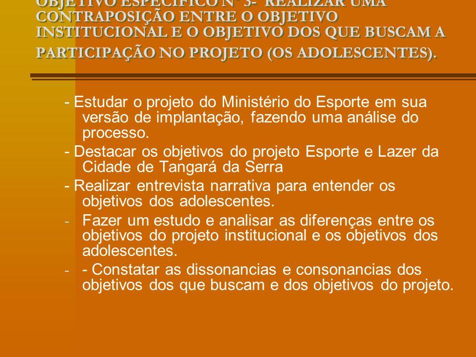OBJETIVO ESPECÍFICO Nº 3- REALIZAR UMA CONTRAPOSIÇÃO ENTRE O OBJETIVO INSTITUCIONAL E O OBJETIVO DOS QUE BUSCAM A PARTICIPAÇÃO NO PROJETO (OS ADOLESCENTES).