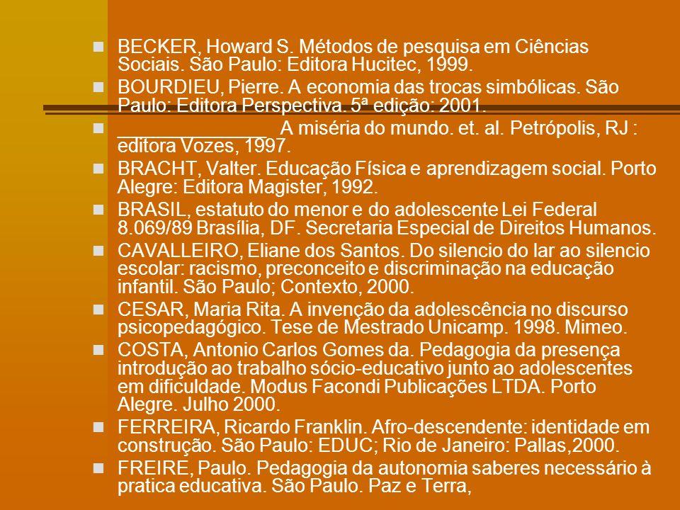 BECKER, Howard S. Métodos de pesquisa em Ciências Sociais.