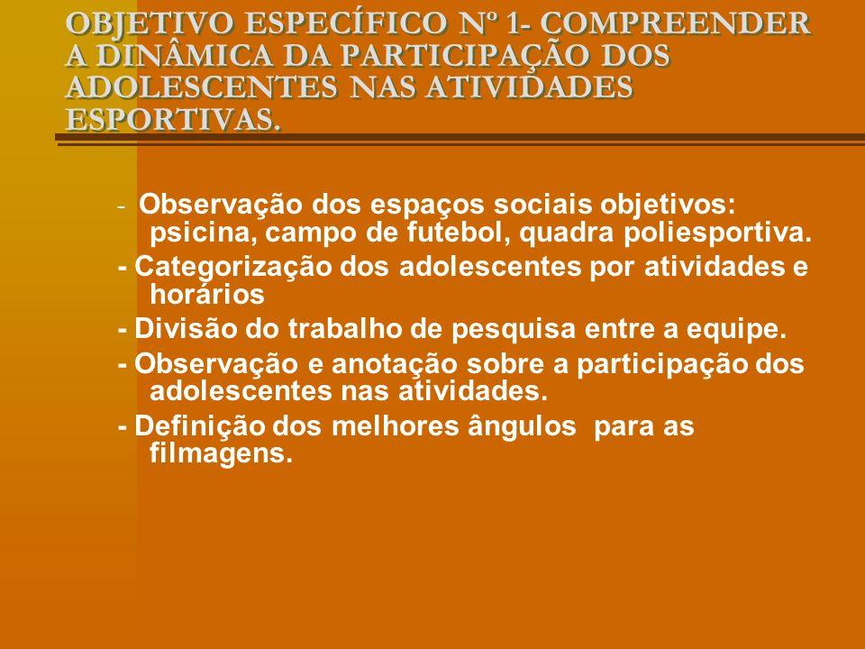 OBJETIVO ESPECÍFICO Nº 1- COMPREENDER A DINÂMICA DA PARTICIPAÇÃO DOS ADOLESCENTES NAS ATIVIDADES ESPORTIVAS.