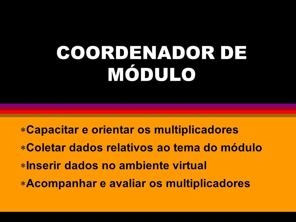COORDENADOR DE MÓDULO Capacitar e orientar os multiplicadores Coletar dados relativos ao tema do módulo Inserir dados no ambiente virtual Acompanhar e avaliar os multiplicadores