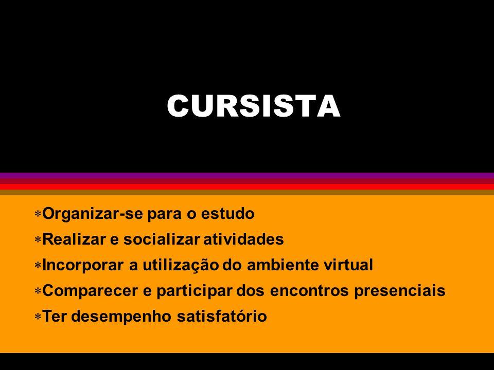 CURSISTA Organizar-se para o estudo Realizar e socializar atividades Incorporar a utilização do ambiente virtual Comparecer e participar dos encontros presenciais Ter desempenho satisfatório