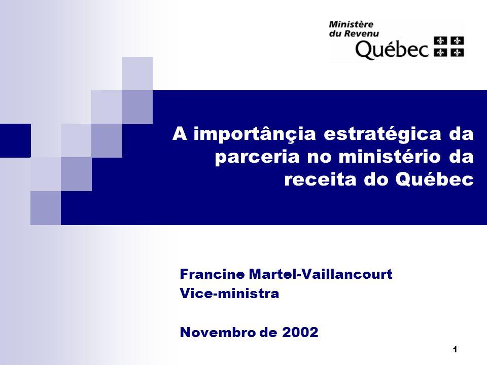 2 Sumário da apresentação 1.A partilha do poder de tributação no Canadá 2.A missão do ministério da Receita do Québec 3.A parceira no ministério 4.As perspectivas