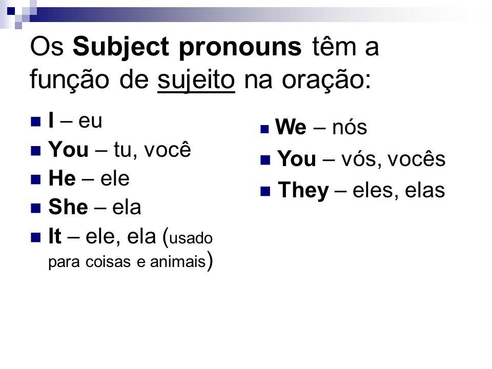 Os Subject pronouns têm a função de sujeito na oração: I – eu You – tu, você He – ele She – ela It – ele, ela ( usado para coisas e animais ) We – nós