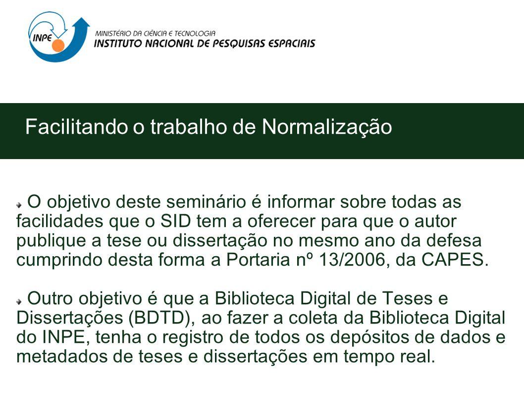 Curso em Editoração Eletrônica por meio de Seminários YOLANDA RIBEIRO DA SILVA SOUZA (SID) Memória Técnico-Científica São José dos Campos outubro/2007