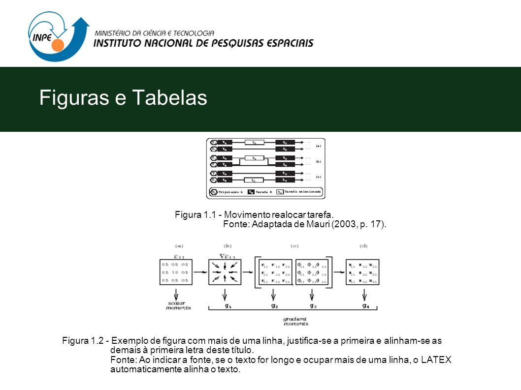 Figuras e Tabelas Figuras e tabelas são numeradas seqüencialmente em algarismos arábicos precedidos dos títulos dentro das partes e seções, quando ide