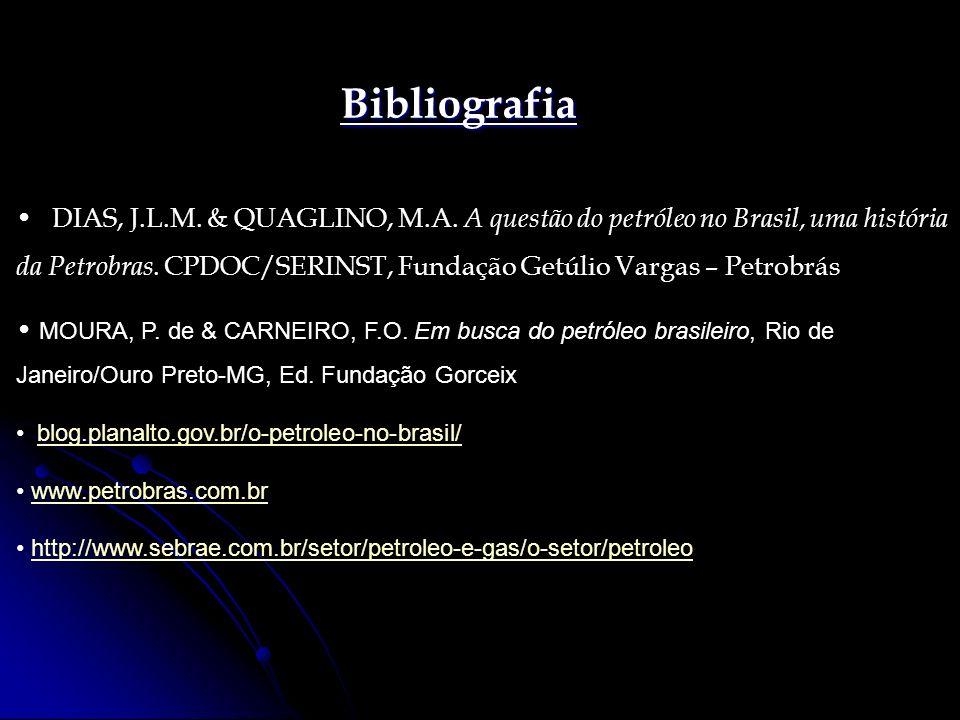 Bibliografia DIAS, J.L.M. & QUAGLINO, M.A. A questão do petróleo no Brasil, uma história da Petrobras. CPDOC/SERINST, Fundação Getúlio Vargas – Petrob