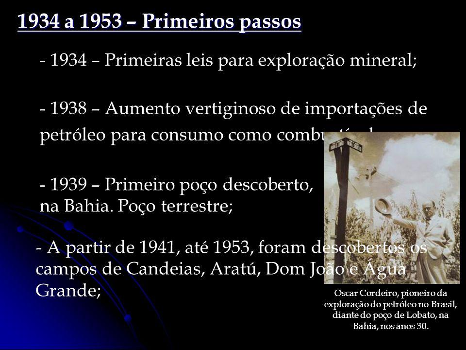 - 1938 – Aumento vertiginoso de importações de petróleo para consumo como combustível; 1934 a 1953 – Primeiros passos - 1934 – Primeiras leis para exploração mineral; - 1939 – Primeiro poço descoberto, na Bahia.