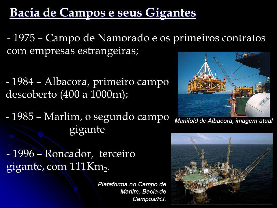 Bacia de Campos e seus Gigantes - 1984 – Albacora, primeiro campo descoberto (400 a 1000m); Manifold de Albacora, imagem atual - 1975 – Campo de Namor