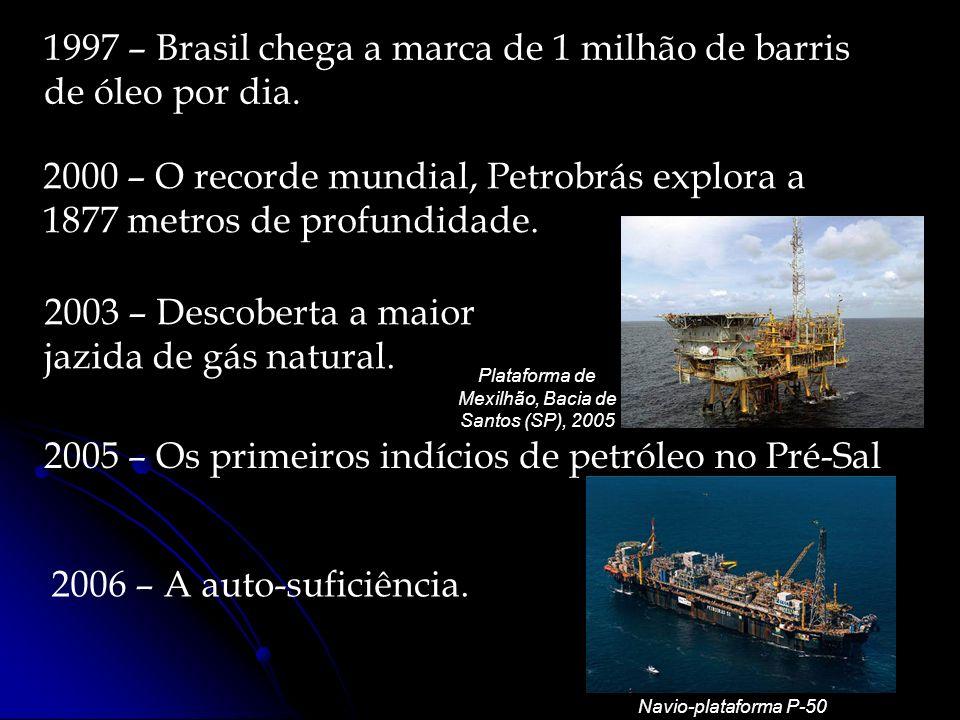 1997 – Brasil chega a marca de 1 milhão de barris de óleo por dia. 2000 – O recorde mundial, Petrobrás explora a 1877 metros de profundidade. 2003 – D