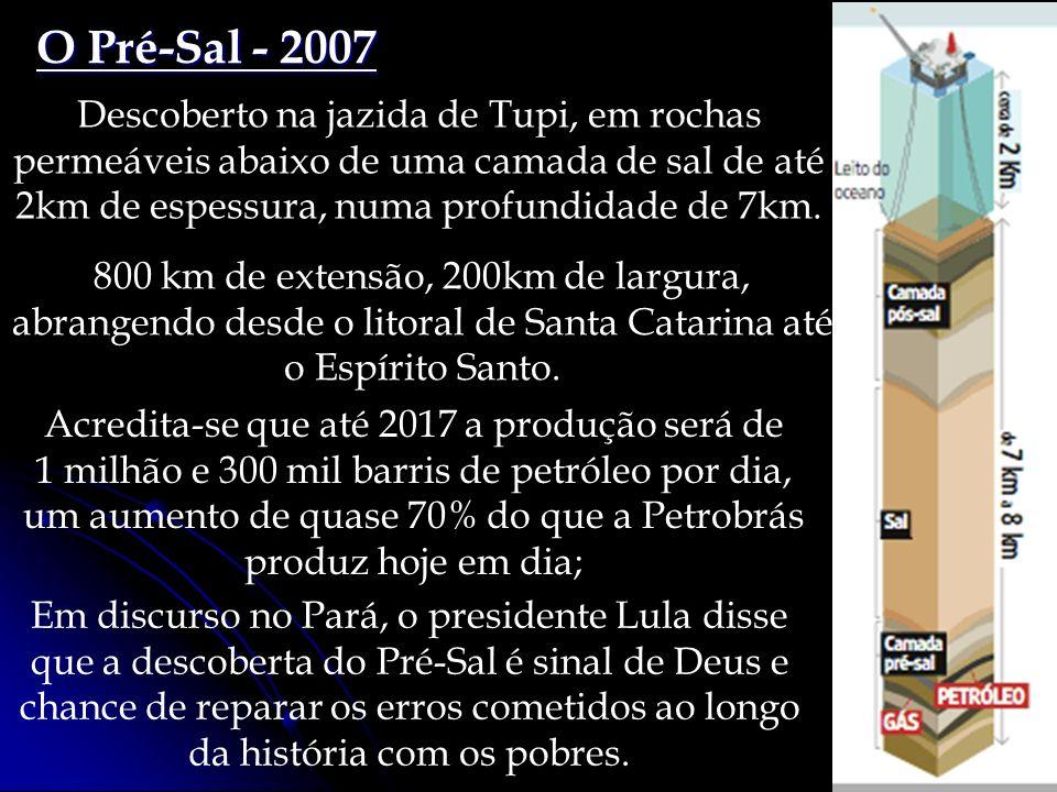 O Pré-Sal - 2007 Descoberto na jazida de Tupi, em rochas permeáveis abaixo de uma camada de sal de até 2km de espessura, numa profundidade de 7km. Acr