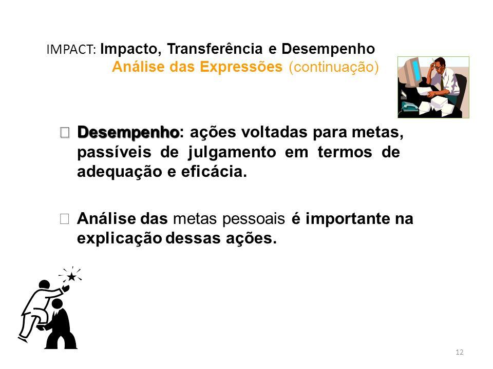 12 IMPACT: Impacto, Transferência e Desempenho Análise das Expressões (continuação) èDesempenho èDesempenho: ações voltadas para metas, passíveis de j