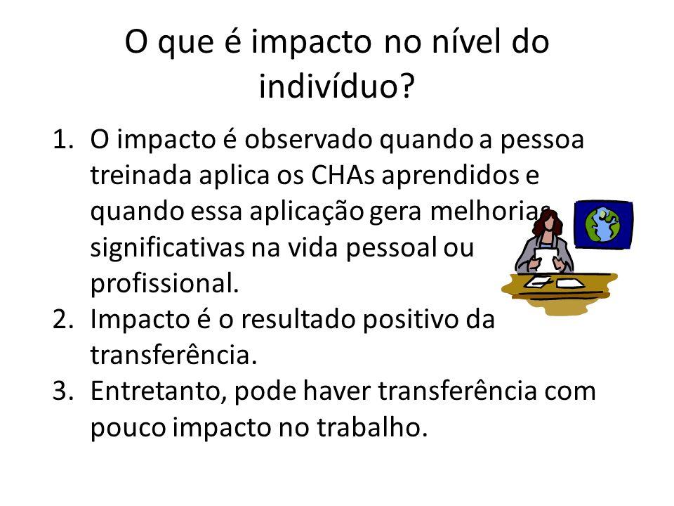 O que é impacto no nível do indivíduo? 1.O impacto é observado quando a pessoa treinada aplica os CHAs aprendidos e quando essa aplicação gera melhori
