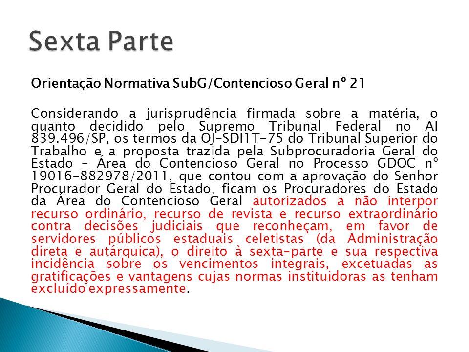 Orientação Normativa SubG/Contencioso Geral nº 21 Considerando a jurisprudência firmada sobre a matéria, o quanto decidido pelo Supremo Tribunal Feder