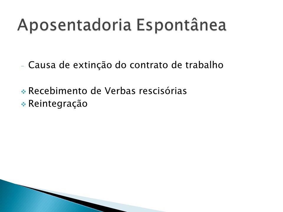 - Causa de extinção do contrato de trabalho Recebimento de Verbas rescisórias Reintegração
