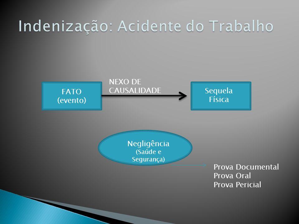 FATO (evento) Sequela Física NEXO DE CAUSALIDADE Negligência (Saúde e Segurança) Prova Documental Prova Oral Prova Pericial