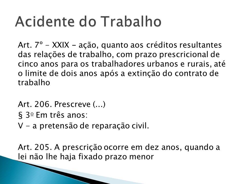 Art. 7º - XXIX - ação, quanto aos créditos resultantes das relações de trabalho, com prazo prescricional de cinco anos para os trabalhadores urbanos e