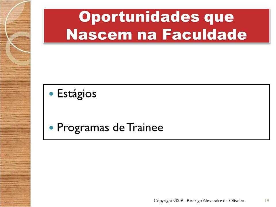 Oportunidades que Nascem na Faculdade Estágios Programas de Trainee Copyright 2009 - Rodrigo Alexandre de Oliveira19