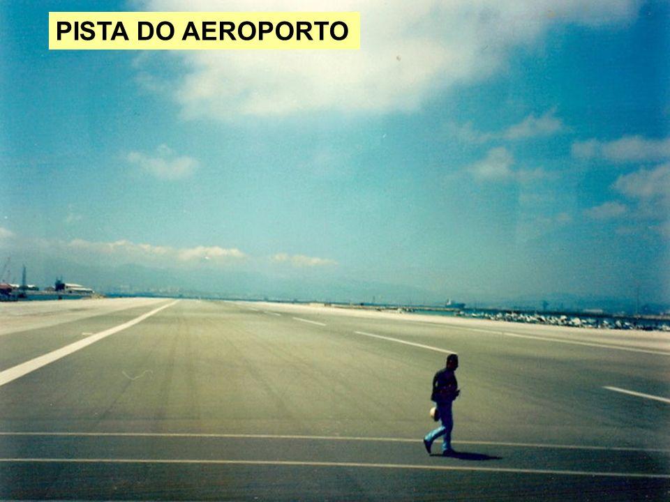 Os aviões esperam para atravessar a avenida.