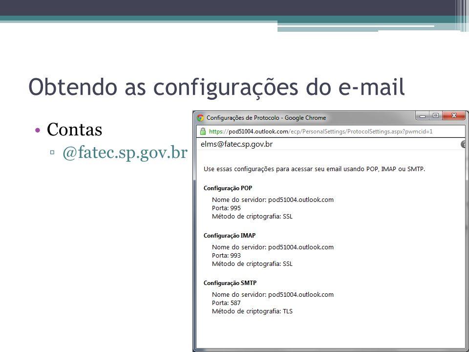 Obtendo as configurações do e-mail Contas @fatec.sp.gov.br