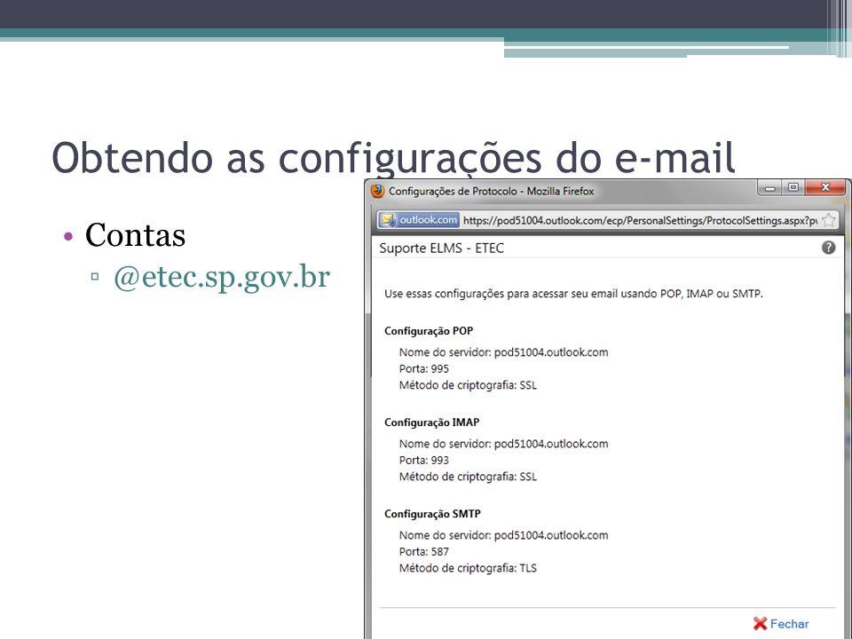 Obtendo as configurações do e-mail Contas @cpspos.sp.gov.br