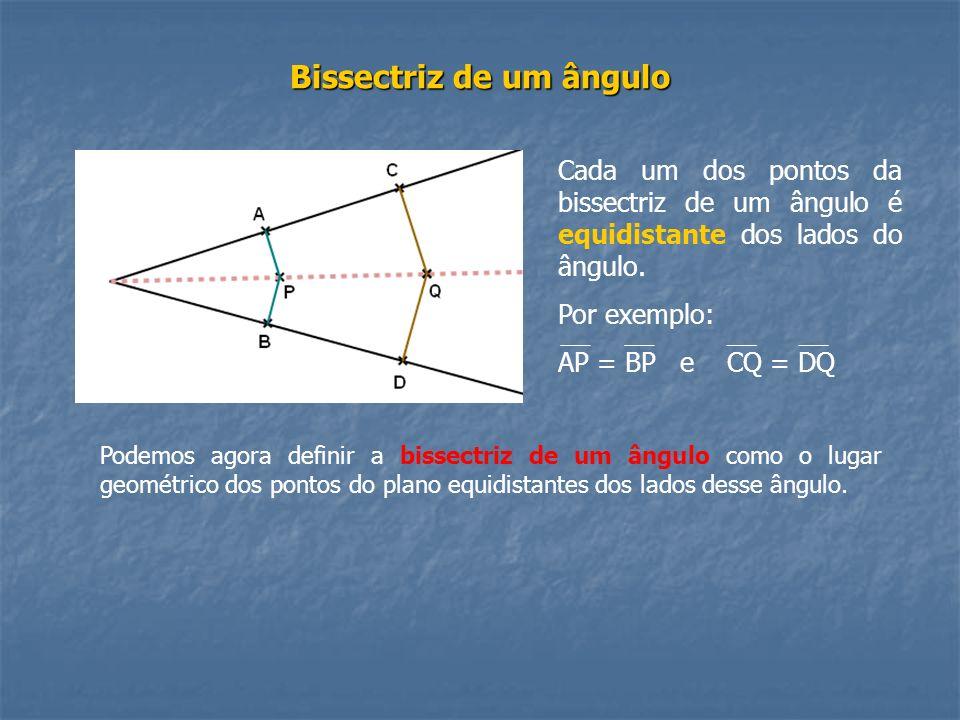 Bissectriz de um ângulo Cada um dos pontos da bissectriz de um ângulo é equidistante dos lados do ângulo. Por exemplo: AP = BP e CQ = DQ Podemos agora