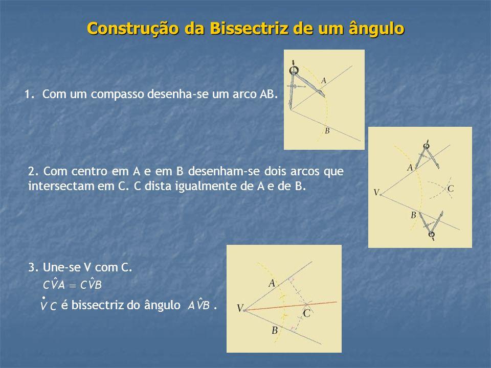 Construção da Bissectriz de um ângulo 1.Com um compasso desenha-se um arco AB. 2. Com centro em A e em B desenham-se dois arcos que intersectam em C.