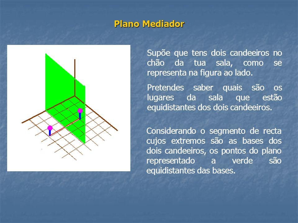 Plano Mediador Supõe que tens dois candeeiros no chão da tua sala, como se representa na figura ao lado. Pretendes saber quais são os lugares da sala
