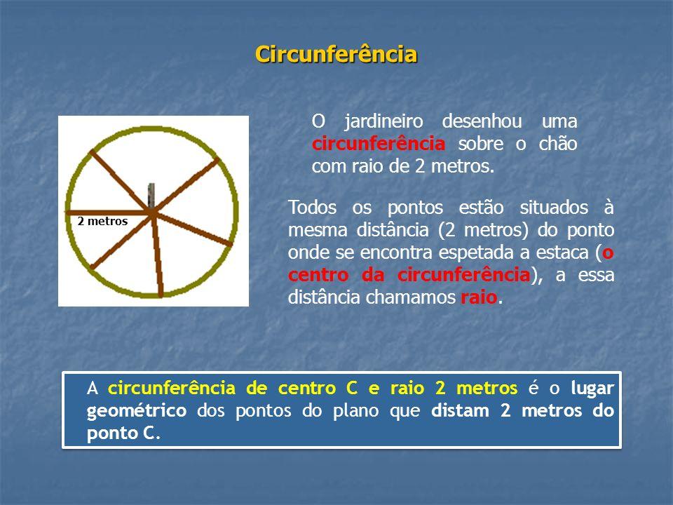 Circunferência Todos os pontos estão situados à mesma distância (2 metros) do ponto onde se encontra espetada a estaca (o centro da circunferência), a