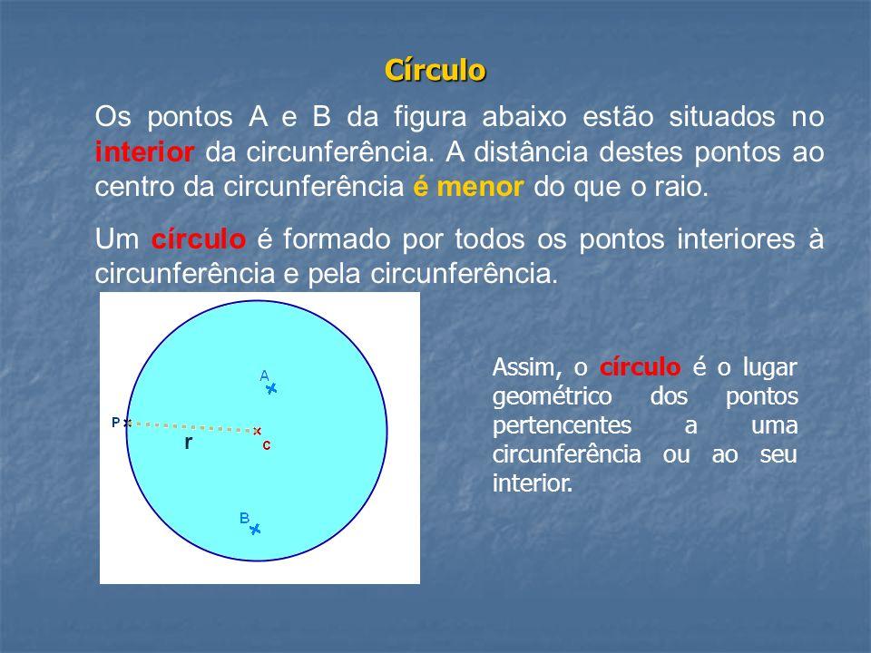 Círculo Os pontos A e B da figura abaixo estão situados no interior da circunferência. A distância destes pontos ao centro da circunferência é menor d