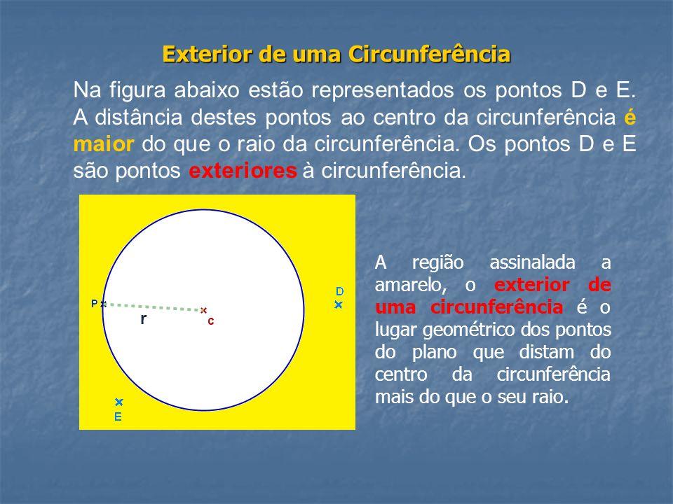 Exterior de uma Circunferência Na figura abaixo estão representados os pontos D e E. A distância destes pontos ao centro da circunferência é maior do