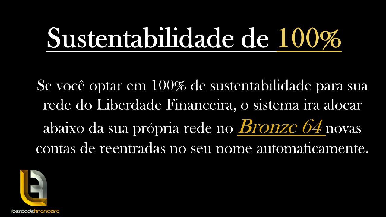 Sustentabilidade de 100% Se você optar em 100% de sustentabilidade para sua rede do Liberdade Financeira, o sistema ira alocar abaixo da sua própria r
