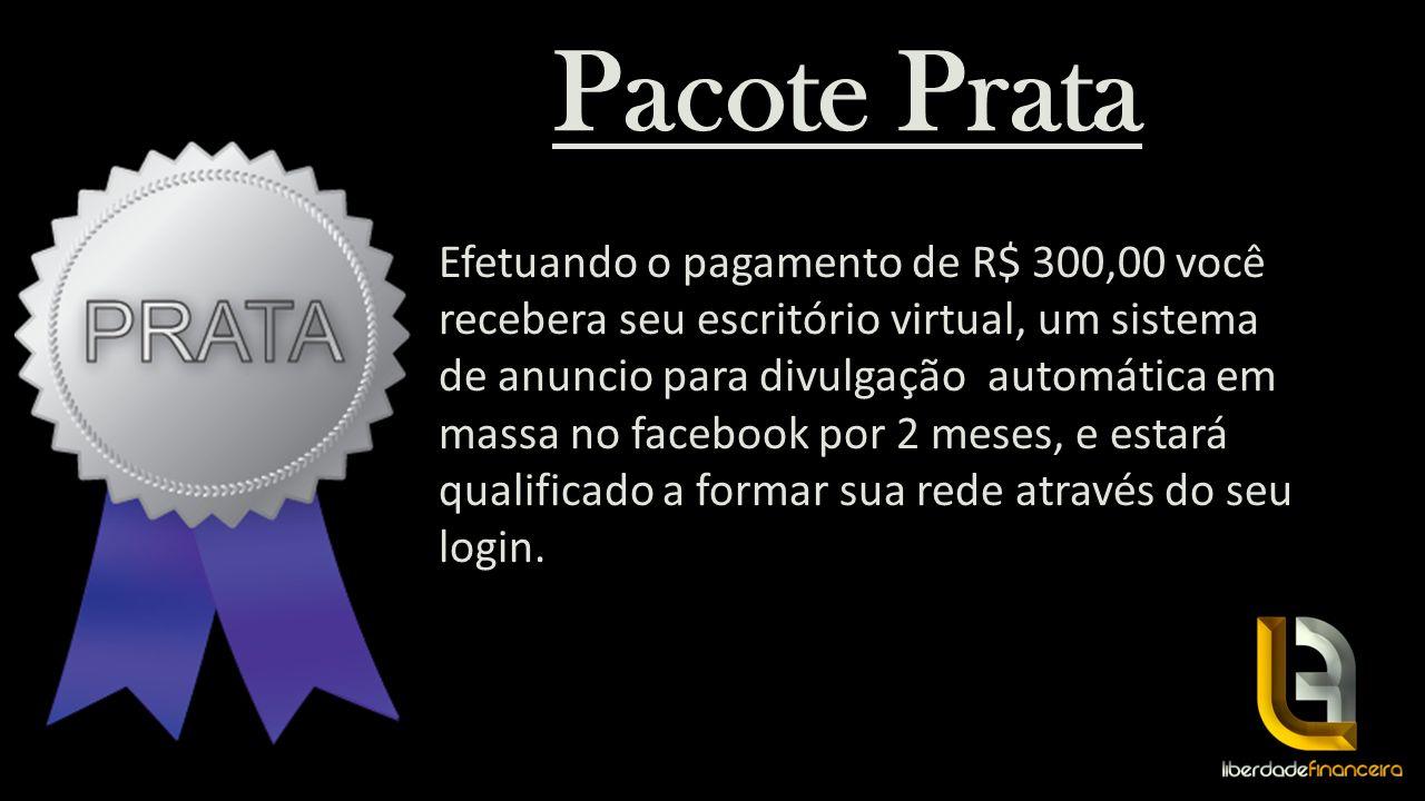 Pacote Prata Efetuando o pagamento de R$ 300,00 você recebera seu escritório virtual, um sistema de anuncio para divulgação automática em massa no fac