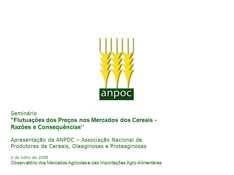 Seminário ''Flutuações dos Preços nos Mercados dos Cereais - Razões e Consequências Apresentação da ANPOC – Associação Nacional de Produtores de Cerea