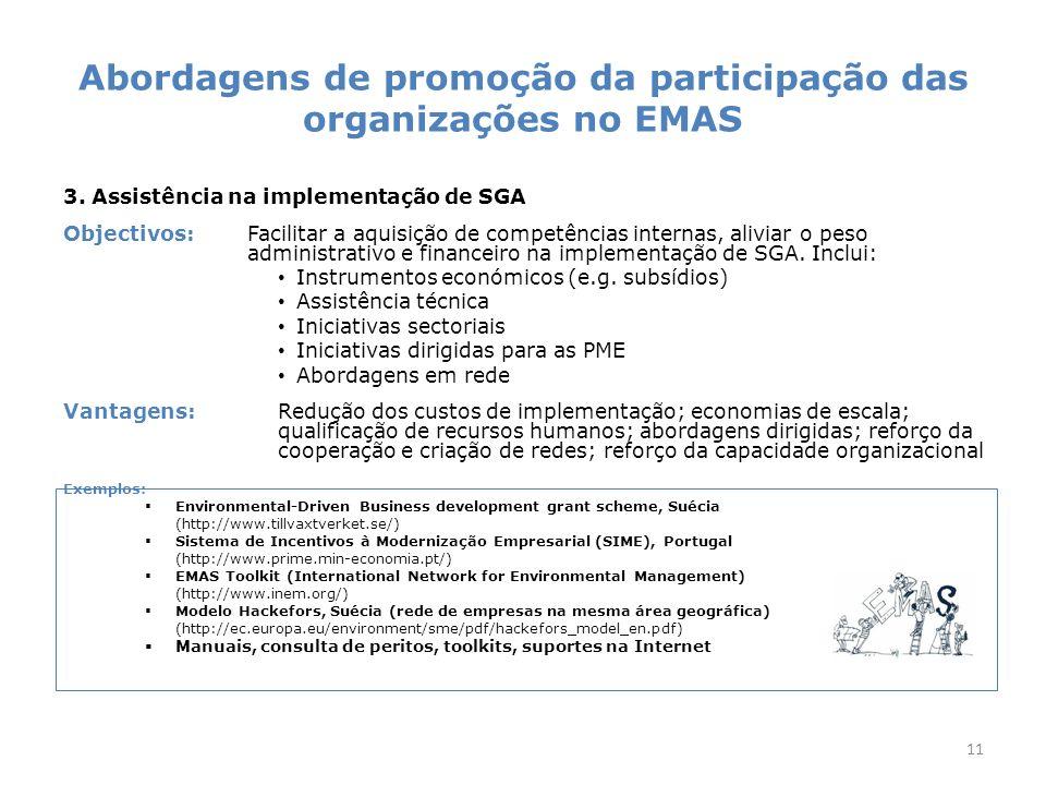 Abordagens de promoção da participação das organizações no EMAS 3.
