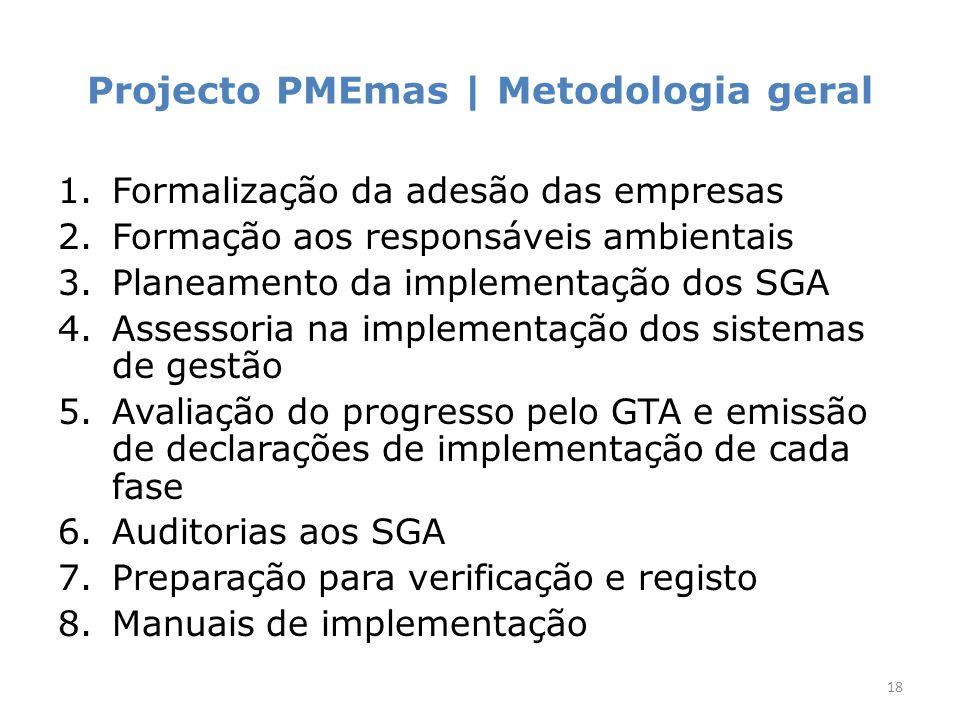 Projecto PMEmas | Metodologia geral 1.Formalização da adesão das empresas 2.Formação aos responsáveis ambientais 3.Planeamento da implementação dos SGA 4.Assessoria na implementação dos sistemas de gestão 5.Avaliação do progresso pelo GTA e emissão de declarações de implementação de cada fase 6.Auditorias aos SGA 7.Preparação para verificação e registo 8.Manuais de implementação 18