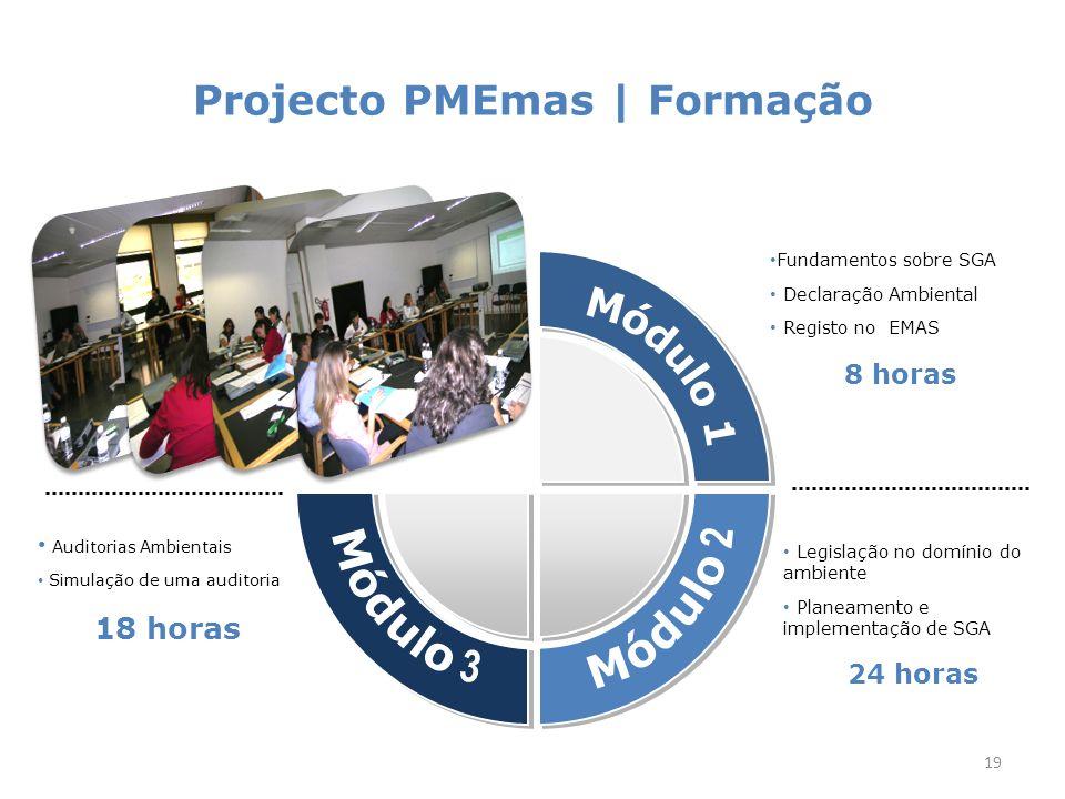 Projecto PMEmas | Formação 19 Fundamentos sobre SGA Declaração Ambiental Registo no EMAS 8 horas Legislação no domínio do ambiente Planeamento e implementação de SGA 24 horas Auditorias Ambientais Simulação de uma auditoria 18 horas