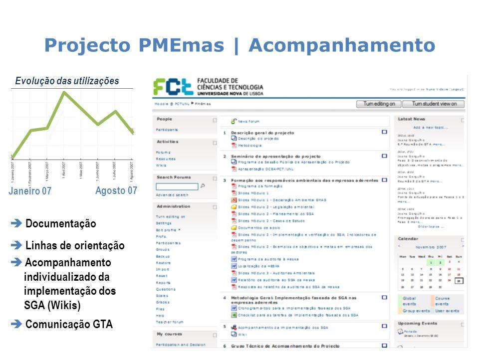 Projecto PMEmas | Acompanhamento 24 Evolução das utilizações Janeiro 07 Agosto 07 Documentação Linhas de orientação Acompanhamento individualizado da implementação dos SGA (Wikis) Comunicação GTA