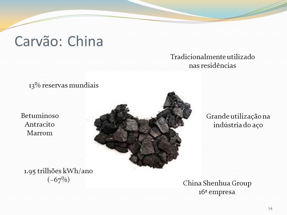 Carvão: China 14 1.95 trilhões kWh/ano (~67%) 13% reservas mundiais Grande utilização na indústria do aço Betuminoso Antracito Marrom Tradicionalmente utilizado nas residências China Shenhua Group 16ª empresa