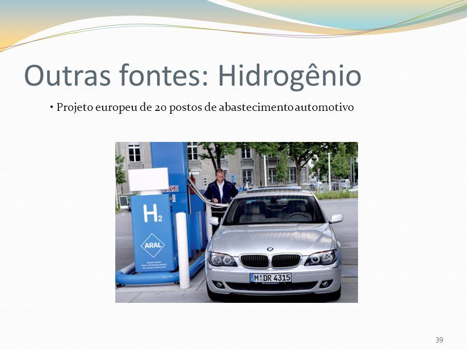 Outras fontes: Hidrogênio 39 Projeto europeu de 20 postos de abastecimento automotivo