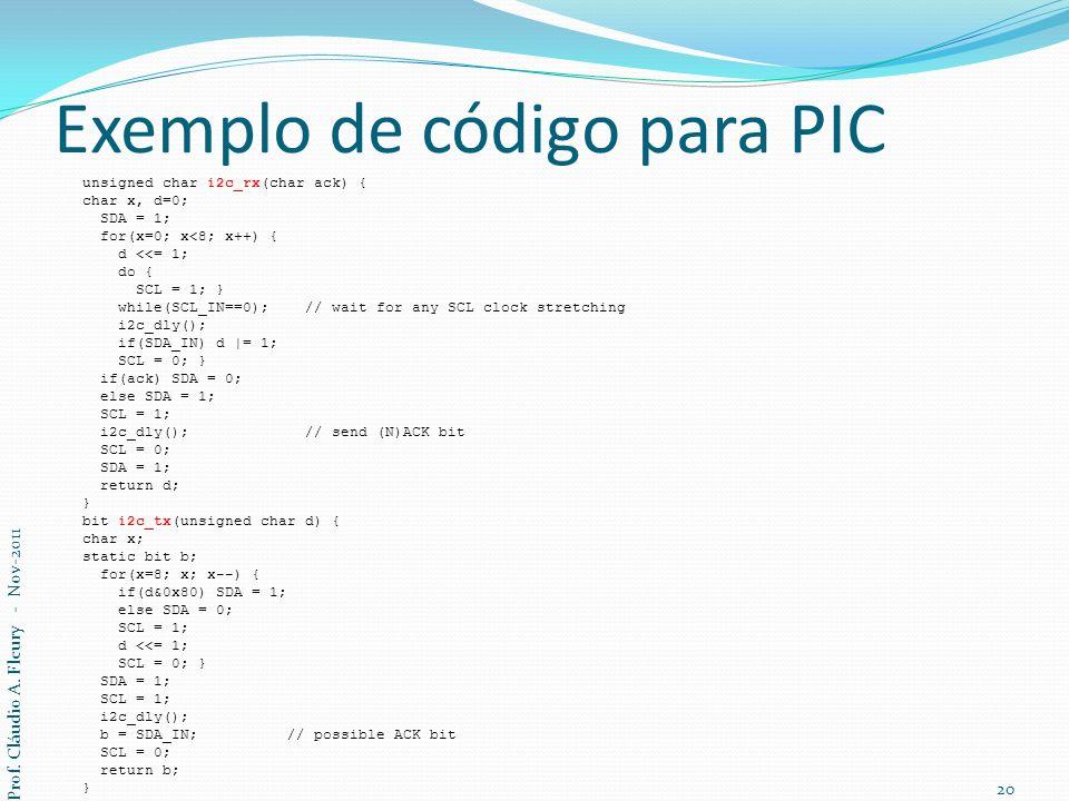 Exemplo de código para PIC unsigned char i2c_rx(char ack) { char x, d=0; SDA = 1; for(x=0; x<8; x++) { d <<= 1; do { SCL = 1; } while(SCL_IN==0); // w