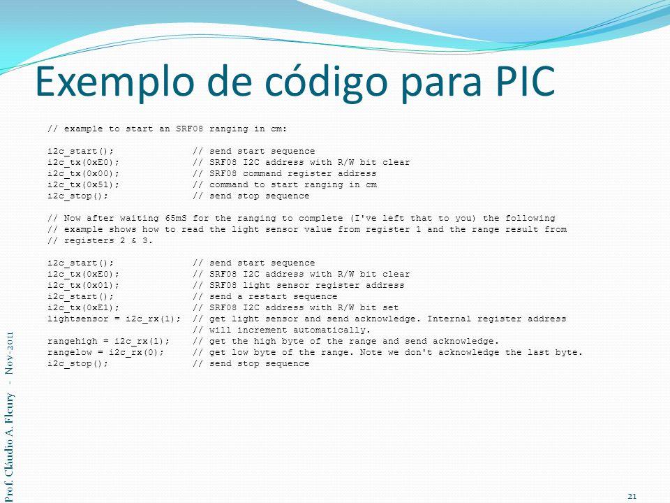 Exemplo de código para PIC // example to start an SRF08 ranging in cm: i2c_start(); // send start sequence i2c_tx(0xE0); // SRF08 I2C address with R/W