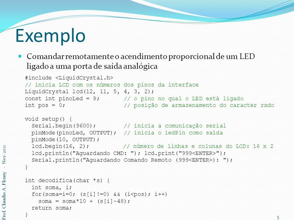 Exemplo Comandar remotamente o acendimento proporcional de um LED ligado a uma porta de saída analógica void loop() { char j, n, carac, seq[20]; int brilho; n = Serial.available(); // qtde de dados enviados pelo remoto for(j=0; j<n; j++) { carac = Serial.read(); if(carac == 13 || pos > 2) // lê bytes até encontrar CR (0x0D): break; seq[pos++] = carac; } if((carac == 13) || (pos > 2)) { seq[pos] = \0 ; Serial.print( - ); Serial.println(seq); brilho = decodifica(seq); if(brilho > 255) brilho = 255; if(brilho < 0) brilho = 0; pos = 0; lcd.setCursor(0, 1); lcd.print( ); lcd.setCursor(0, 1); lcd.print(brilho); analogWrite(pinoLed, (byte)brilho); // ajusta o brilho do LED } } Prof.