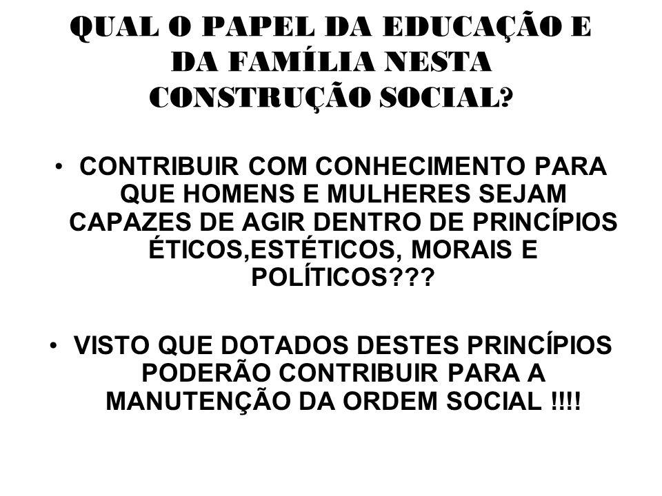 QUAL O PAPEL DA EDUCAÇÃO E DA FAMÍLIA NESTA CONSTRUÇÃO SOCIAL.
