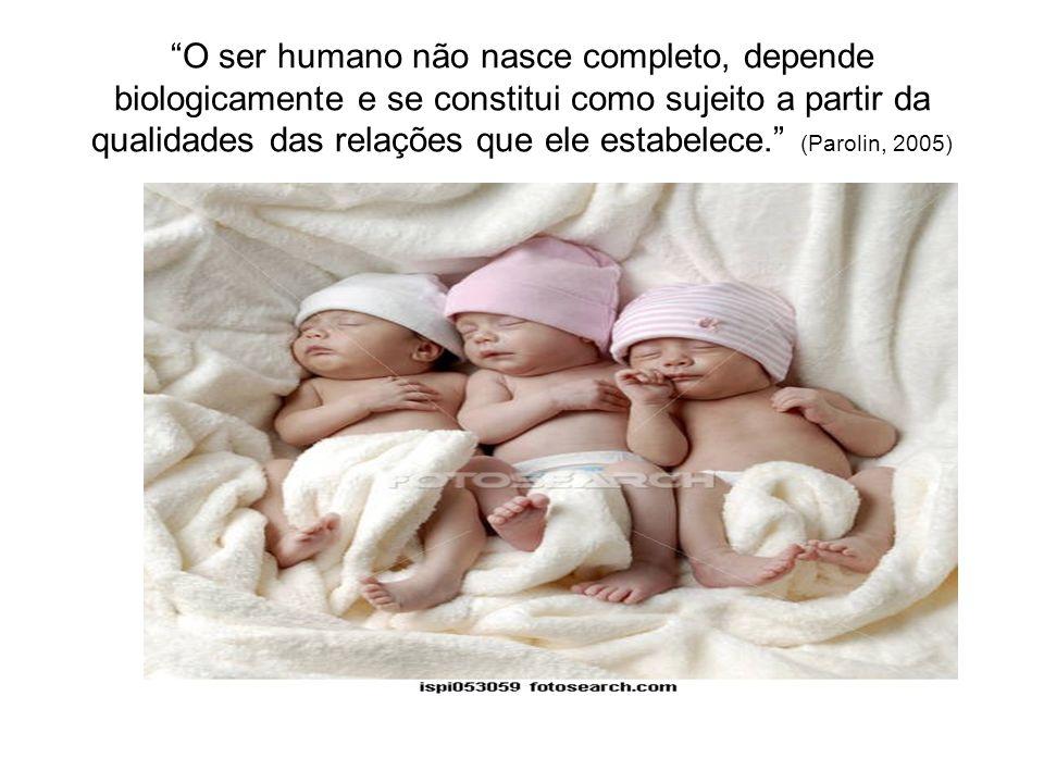 O ser humano não nasce completo, depende biologicamente e se constitui como sujeito a partir da qualidades das relações que ele estabelece. (Parolin,